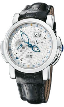 Ulysse Nardin Gmt Perpetual White Guilloche Dial Leather Strap Automatic Mens Watch 329-60