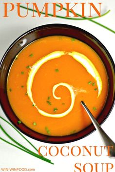 Pumpkin Coconut Soup | WIN-WINFOOD.com  A comforting appetizer or a light dinner, this pumpkin coconut soup with a hint of ginger will warm you up during these chilly days. #vegan & #glutenfree.