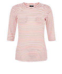 Petite Red Ribbed Stripe Print 1/2 Sleeve Top  | New Look