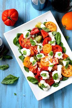 Heirloom tomatoes and burrata cheese