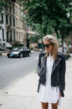 Suede Moto Jacket // White Shirt Dress