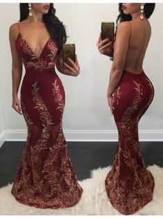 Sexy Prom Dress,Mermaid Prom Dresses,V Neck Mermaid Evening