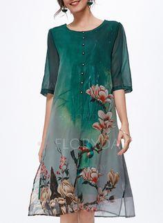 Dresses - $62.99 - Silk Jute Floral Half Sleeve Mid-Calf Casual Dresses (1955134284)