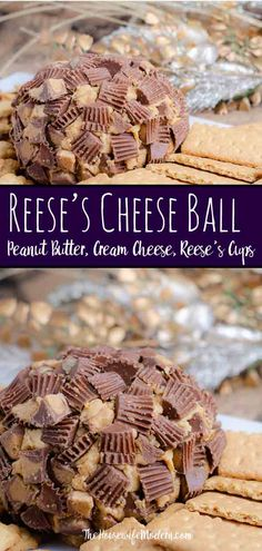Reese's Peanut Butter Cup Cheese Ball. This to-die-for dessert (or appetizer!) is easy to make and absolutely delicious. I always catch at least one guest eating it with a spoon instead of on the graham crackers. Best Dessert Recipes, Fun Desserts, Sweet Recipes, Delicious Desserts, Yummy Food, Birthday Desserts, Yummy Treats, Peanut Butter Cups, Healthy Peanut Butter