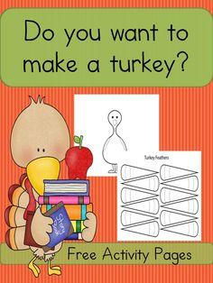 Preschool or Kindergarten Activity: Thanksgiving Make a Turkey Worksheets: Easy and Fun Craft for Kids