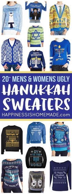 b75791064 Liven up your Hanukkah dinner party with these funny ugly Hanukkah sweaters!  Funny Hanukkah sweaters for all of your holiday celebrations!