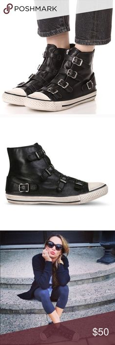 GUC Ash black leather high top sneakers Black leather distressed style high top sneakers with buckle straps. Size 38, i wear a size 8.5 and these fit perfectly. Used, still in good condition. See photos for reference. Ash Shoes Sneakers