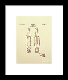 1933 Beer Bottle Patent Graphite Pencil Sketched Art from the art studio of Scott D Van Osdol available at fineartsamerica.com