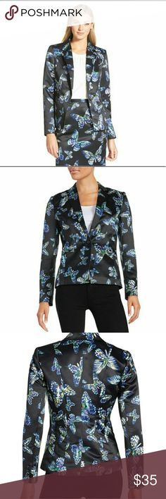 """CeCe by Cynthia Steffe Floating Butterflies Jacket Notched collar - Long sleeves with non-functional button cuffs - Front button closure - 2 front pockets - Back vent - Approx. 23"""" length - Imported Fiber Content Shell: 100% polyester Lining: 100% polyester Care Dry clean only Additional Info Fit: this style fits true to size. CeCe Jackets & Coats Blazers"""
