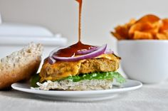 BBQ Cheddar Chickpea burgers. Vegetarian, and almost vegan! Can't wait to try these.