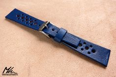 Hand made, rally watch strap with rolled edges. 22/16 www.mkleathers.pl