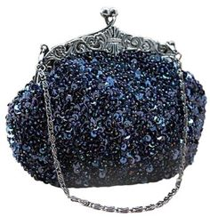 Chicastic Fully Sequined Mesh Antique Style Wedding Evening Formal Cocktail Clutch Purse Bag - Blue