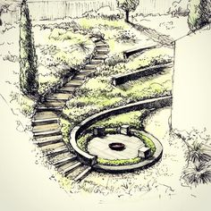 The terrace garden. The terrace gard Landscape Sketch, Landscape Architecture Design, Landscape Drawings, Landscape Plans, Urban Landscape, Garden Drawing, Terrace Garden, Garden Planning, Garden Projects