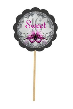Sweet 16 Pink Masquerade ~ Cupcake Toppers | CameoAndLace - Paper/Books on ArtFire