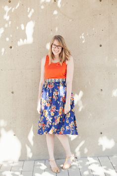outfit idea: pair your favorite floral midi skirt with nude clogs