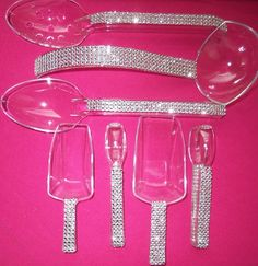 Wedding Candy Bar Set 7 Bling Wedding Candy Buffet Silver Diamond Rhinestone scoop large scoop tongs large spoons ladle (Please note these are faux rhinestones, great bling for half the cost) Denim And Diamonds, Silver Diamonds, Bar A Bonbon, Diamond Party, Candy Bar Wedding, Buffet Wedding, Do It Yourself Wedding, Sweet 16 Parties, Bar Set