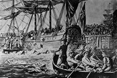 """Drawing Depicting the Boston Tea Party on Dec by W. """" In Boston Harbor, a group of Massachusetts colonists disguised as Mohawk Indians board three British tea ships and dump 342 chests of tea into the harbor. Mohawk Indians, American History, Native American, Diana Gabaldon Outlander Series, Boston Tea, I See Red, Wonder Boys, Boston Harbor, Dragonfly In Amber"""