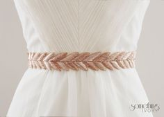 This would be a pretty sash with your wedding dress (comes in blush pink as well) HANABI in Rose Gold - Metallic Bullion Embroidered Bridal Belt, Wedding Sash