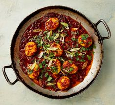 The fry-up 2.0: Yotam Ottolenghi's fried boiled eggs in chilli sauce.