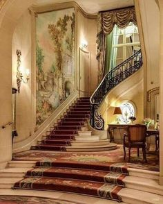 Treppe An elegant solution to building code restrictions against staircase runs over without a l Luxury Home Decor, Luxury Interior, Interior And Exterior, Luxury Homes, Luxury Furniture, Furniture Design, Hotel Lobby Design, Grand Staircase, Staircase Design