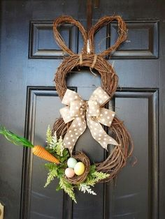 Bunny FooFoo with Carrot Spring Easter Wreath made by Dorene Wreaths For Front Door, Door Wreaths, Grapevine Wreath, How To Make Wreaths, Crafts To Make, Wreath Forms, Easter Wreaths, Bunny, Seasons