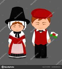 Welsh in national dress with a flag. Man and woman in traditional costume. Travel to Wales. Anastasia, Pioneer Gifts, Banner Printing, Child Day, Character Costumes, En Stock, People Of The World, Old Postcards, Professional Business Cards