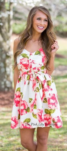 5504dcdaa6 I Won t Give Up White Floral Dress CLEARANCE Simple Dresses