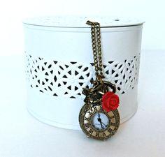 Alice in Wonderland pocket watch necklace, Antique bronze pocket watch necklace, Wonderlandrose and rabbit watch necklace