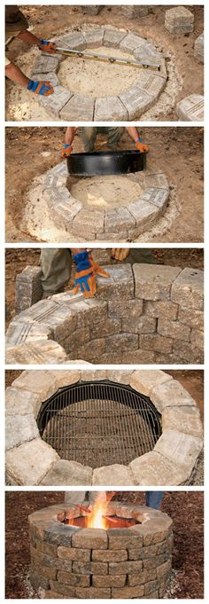 How to Build Your Own Fire Pit & could be a possibility that you could also do a homemade inground swimming pool with this, just make it bigger...