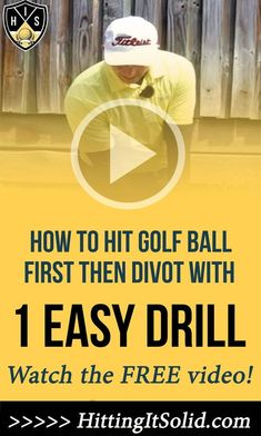 Learn how to hit golf ball first then divot hitting solid golf iron shots. You'll discover 1 simple drill and 2 key moves you can practice at home to improve your ball-striking with your golf irons. Golf Books, Golf Tips Driving, Volleyball Tips, Golf Score, Golf Practice, Golf Chipping, Golf Instruction, Golf Putting, Golf Training