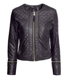 quilted fake leather jacket   H #fashion