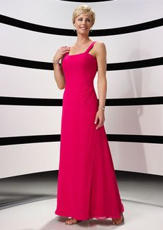 Column Mother Wear In Fushia Tiny Draped With A Sequare neckline Holding A Coat