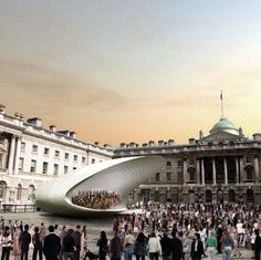 Visualisation of Soundforms' medium mobile stage in use at Somerset House. Amphitheater Architecture, Acoustic Architecture, Temporary Architecture, Architecture Design, Outdoor Stage, Outdoor Theater, Theatre Design, Stage Design, Concert Stage