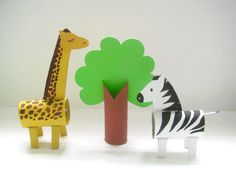 Toilet paper roll giraffe and zebra from 'Make Your Own Zoo' craft book. All the animals are made from ordinary cardboard packaging that's really easy to get hold of. Zebra Craft, Giraffe Crafts, Zoo Crafts, Preschool Crafts, Easter Crafts, Animal Crafts For Kids, Halloween Crafts For Kids, Toddler Crafts, Diy Crafts For Kids