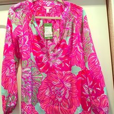 """NWT Lilly Pulitzer Elsa NWT Lilly Pulitzer Elsa. Print is """"Worth It"""". Perfect condition!!! Lilly Pulitzer Tops Blouses"""