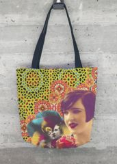 VIDA Tote Bag - Red poppy and bee by VIDA oL66G