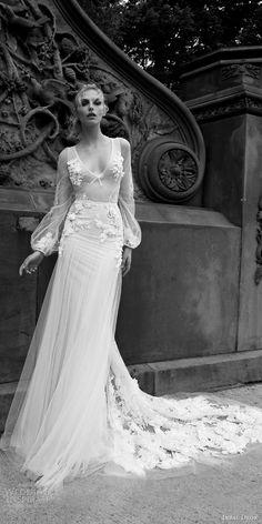 inbal dror 2016 wedding dress with illusion long bishop sleeve v neck sheath…