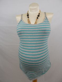 A Pea in the PodTeal & Grey Striped Nursing Tank Top-912- $14.99