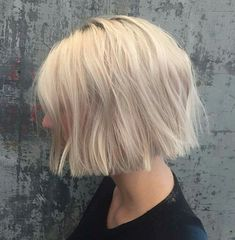 Short same length blonde bob                                                                                                                                                                                 More