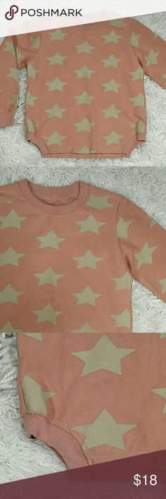 Pink Stars Sweatshirt.  Kids Adorable sweatshirt in rose with cream stars design.  Crew neck,  long sleeves. This item is brand new and never used. No tags. Shirts & Tops Sweatshirts & Hoodies