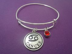 Alex and Ani Inspired Zodiac Sign and Astral Stone Expandable Bracelet: Cancer