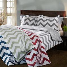 Chevron Stripe Flannel Reversible 3-piece Duvet Cover Set