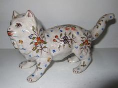 French Faience Pottery Cat