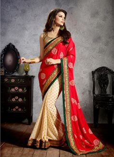 Fab Yug Designer Red And Beige Georgette Saree - Buy Online in India for prices starting at Rs. 2199 on Shimply.com
