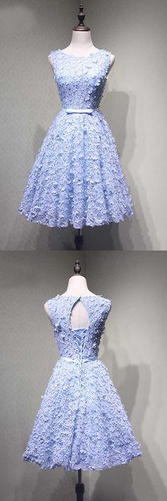 Crew Knee-Length Open Back Appliques Blue Lace Homecoming Dress PG114 #homecomingdress #homecoming #blue #lace #shortprom #kneelength #homecoming #pgmdress