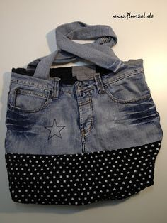 Good example of bag suggested by inherent character of the jeans.