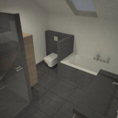 Moderne badkamer onder schuin dak