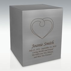 Heart Silver Cube Cremation Urn - Engravable