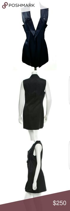 "Black Balenciaga V-neck Knee Length Dress This black Balenciaga V-neck has notched lapels, overlay at front skirt with a concealed side zip closure. Bust 32"" waist 29"" Hips 36"" Length 33.5"" the details of this dress are amazing! Balenciaga Dresses Midi"