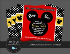 Mickey Mouse Baby Shower Invitation - YOU PRINT (Digital File) Disney Baby Shower Printables